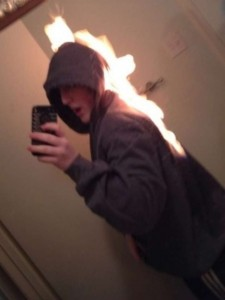 Selfie on fire xD